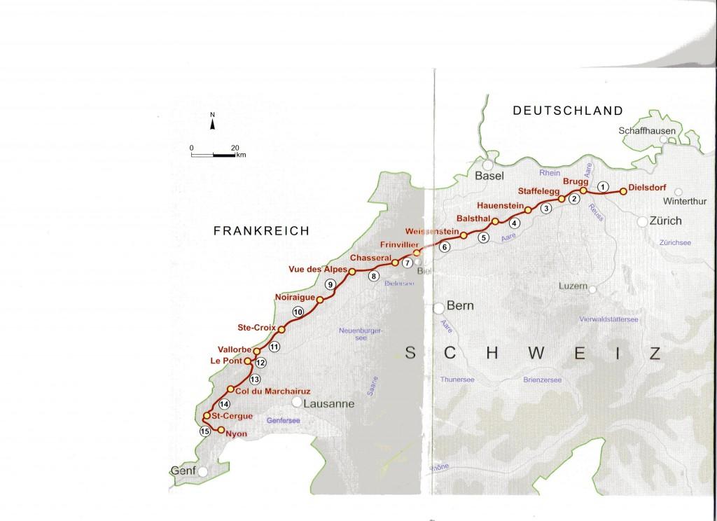 Streckenprofil Jura-Höhenwanderung (aus erwähntem Wanderbuch