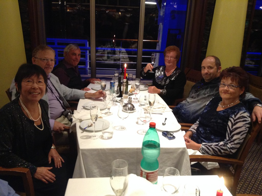 Costa Fortuna, Dinner Table, with neighbors: Michiko, Joe, Koni, Evi, Jakob, Annemarie